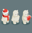 isometric polar white bear christmas animal vector image vector image