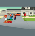 kids playing hopscotch vector image vector image