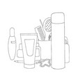 makeup kit personal care sets skin care for vector image