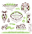 Milk labels stickers and banners vector image vector image