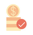 mobile banking stack money coins check mark flat vector image