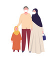 muslim families parents and girls wear health vector image vector image