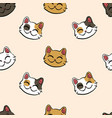 pattern with lucky cat maneki neko vector image vector image