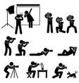photographer cameraman paparazzi pose posing icon vector image vector image