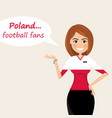 poland football fanscheerful soccer fans sports vector image vector image