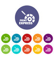 print express icons set color vector image