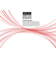 red lines wave transparent abstract background vector image