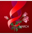 Ribbon March 8 greeting card vector image vector image