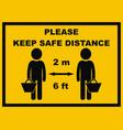 safe distance 6 feet 2 meter vector image vector image