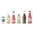 sauce bottles set realistic glass bottle vector image