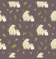 seamless pattern with cute polar bears and field vector image vector image