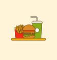 set hamburger french fries and soda flat design vector image vector image