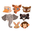 set of wild animals head vector image vector image