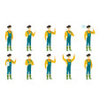 set of with farmer characters vector image vector image