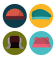 set winter hat clothes to cold weather vector image