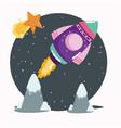 space spaceship shooting star explore vector image vector image