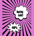 spring sale discount bubbles on pink burst ray vector image vector image
