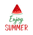 summer greeting card with slice of watermelon and vector image vector image