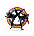 taekwondo fighting designed on line rainbow vector image vector image
