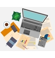 Top view of workplace with documents and laptop vector image vector image