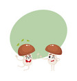 two funny porcini characters jumping from vector image vector image