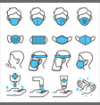 types medical masks and levels covid19 vector image vector image