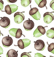Watercolor Seamless pattern with acorns vector image vector image