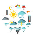 weather set icons flat style vector image vector image