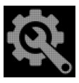 white halftone gear and wrench icon vector image vector image