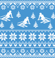 Winter knit pattern - man skiing on blue vector image vector image