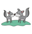 wolves couple over grass in colorful silhouette on vector image vector image