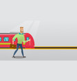 young man walking on a railway station platform vector image vector image