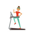 young woman character running on thread mill girl vector image vector image