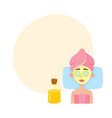 young woman getting cosmetic facial mask in spa vector image vector image