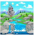 Mountain landscape with river and castle vector image