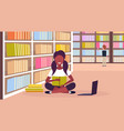 african american girl student sitting lotus pose vector image vector image