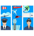 aviation brochure set airline station airport vector image vector image