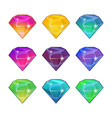 brilliant diamonds in different colors vector image
