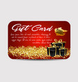 card template with glitter and present boxes vector image