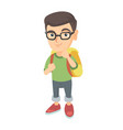 caucasian little boy with school bag thinking vector image