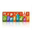Color blocks with letters and cake Happy birthday vector image