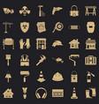 Construction bulldozer icons set simple style