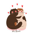 cute enamored cats on a white background vector image vector image