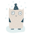 cute little owl in wintercap handdrawn vector image
