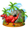 Dinosaur standing in front of the cave vector image vector image