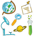 drawn picture with science stuff vector image vector image