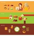 Fast Food Banner Set vector image