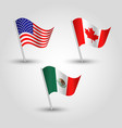 flag usmca american canadian and mexican trade vector image vector image