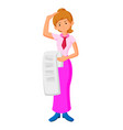 flat design businesswoman confused bill vector image