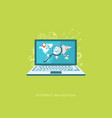 flat design with icons internet navigation vector image